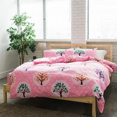 美夢元素 台製-天鵝絨-床包被套四件組-雙人(彩虹樹)