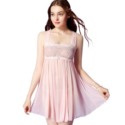 思薇爾 芭紗花園系列蕾絲刺繡性感連身小夜衣(亮膚粉)
