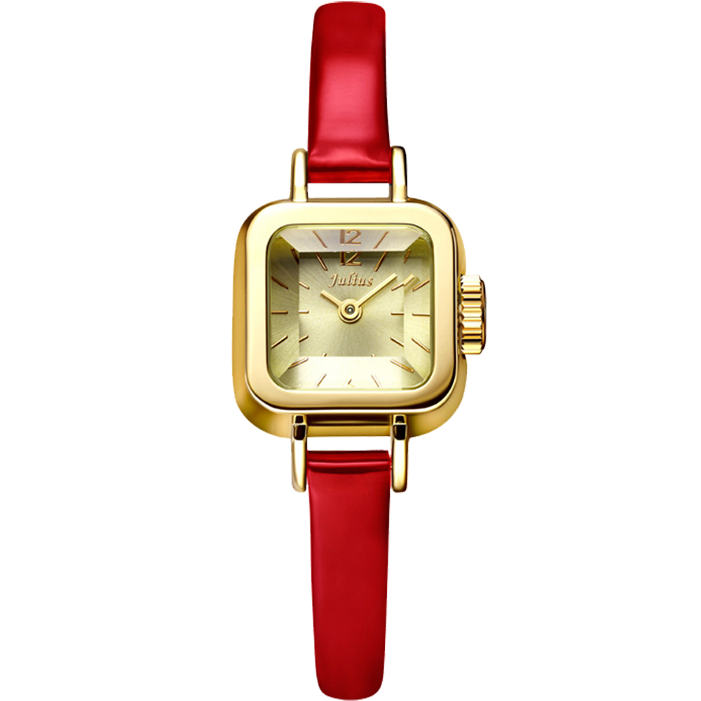 JULIUS聚利時 Choco小方糖立體切割鏡面皮帶腕錶-紅x金/24x24mm