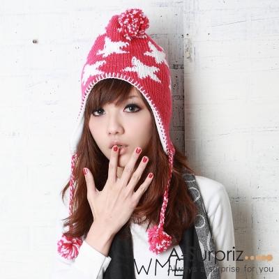 A-Surpriz 星星圖樣毛球辮子毛線帽(桃粉)