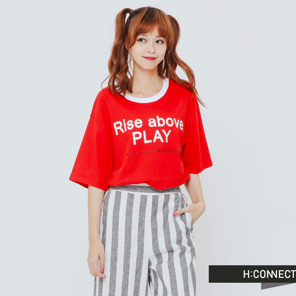 H:CONNECT 韓國品牌 女裝-撞色滾邊T-Shirt-紅