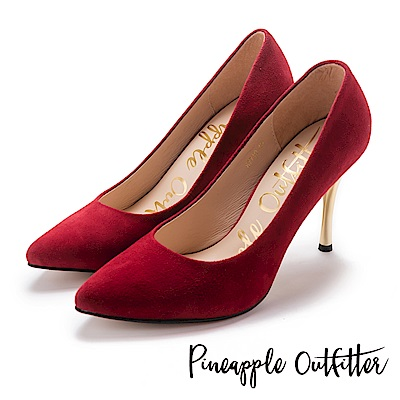 Pineapple Outfitter 性感名媛 真皮素面尖頭金屬高跟鞋-絨紅