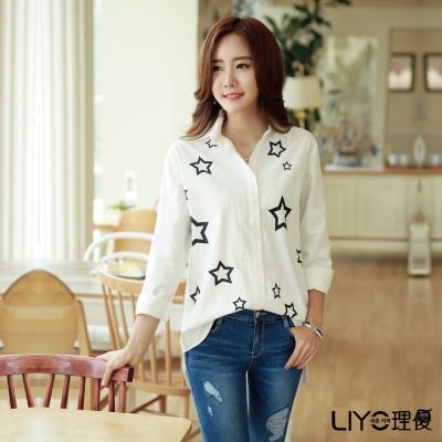 LIYO理優星星印花寬版襯衫(白色)