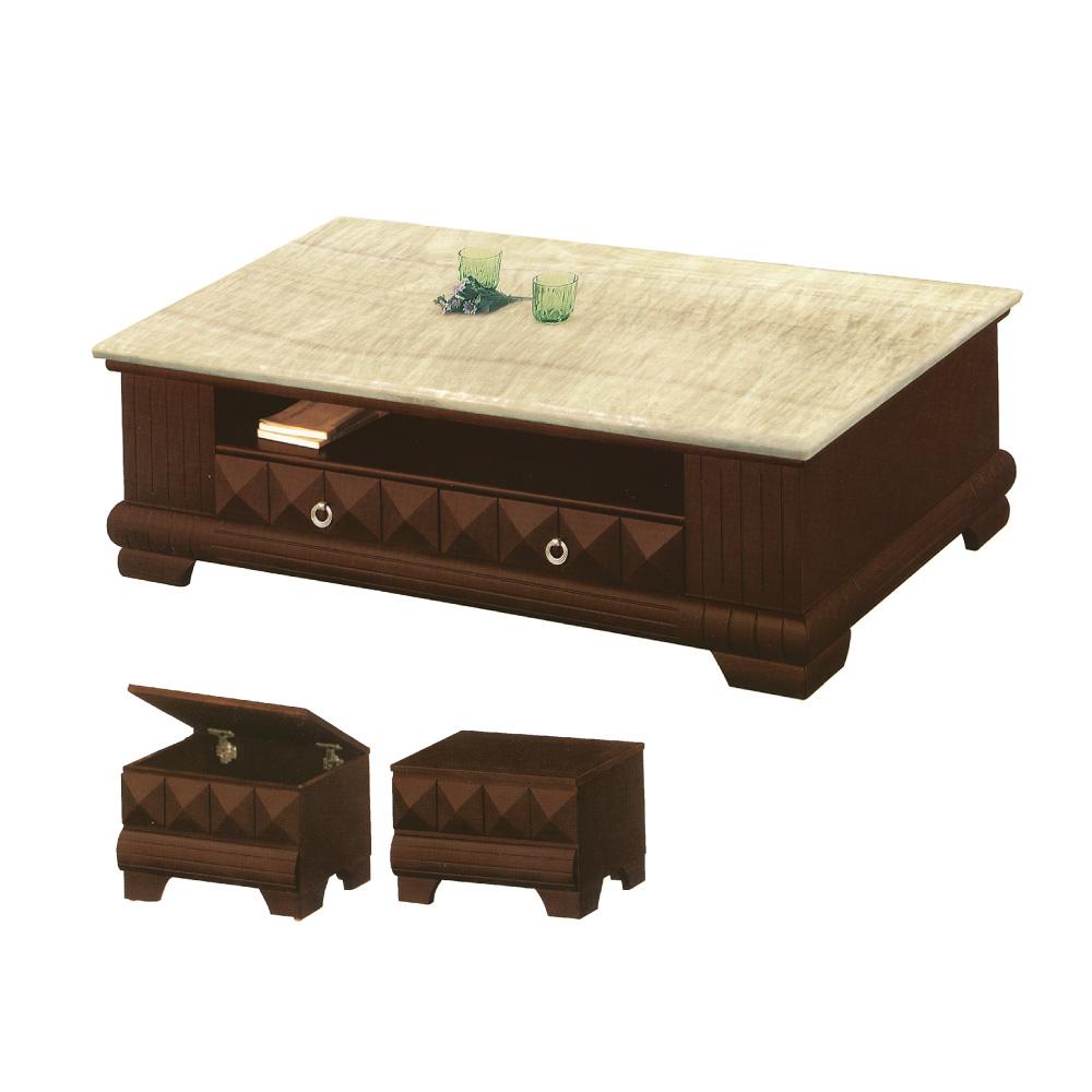 品家居 芬蘭5尺胡桃木紋石面大茶几(含椅凳2入)-150x90x47cm免組