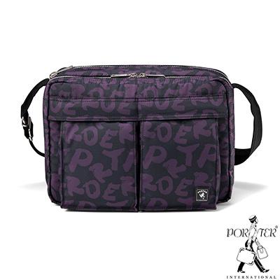 PORTER-玩味街頭ARTY中型休閒斜背包-黑配紫
