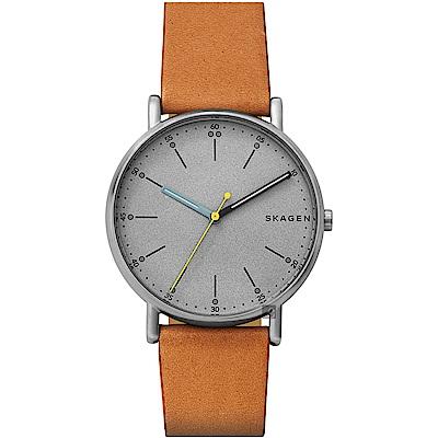 Skagen Signature 北歐時尚手錶(SKW6373)-灰x咖啡/40mm