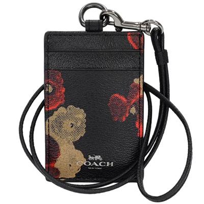 COACH黑底紅棕花繪PVC掛式證件票卡夾