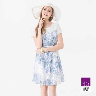 ILEY伊蕾 輕甜碎花蕾絲拼接洋裝(藍)