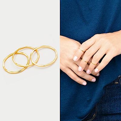 Gorjana 尾戒 指節戒 金色 三環戒 可分開配戴