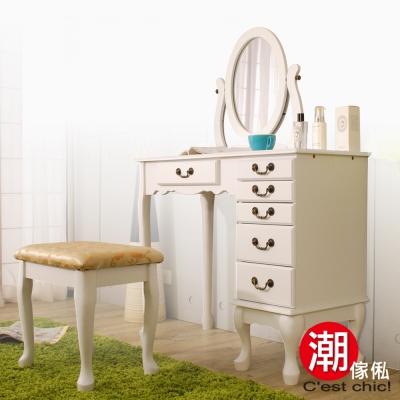 C est Chic Raphael拉斐爾珠寶化妝桌椅組(白色)