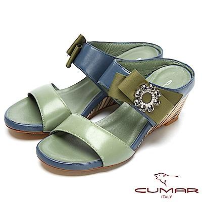 CUMAR撞色時尚-圓形水鑽裝飾楔型跟涼鞋-芥綠色