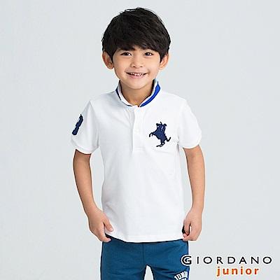 GIORDANO 童裝拿破崙刺繡短袖POLO衫-46 標誌白