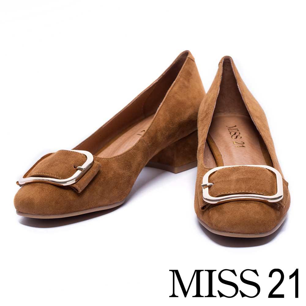 跟鞋 MISS 21 簡約復古方釦羊皮粗低鞋-咖