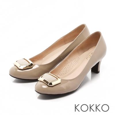 KOKKO-立體方扣真皮高跟鞋-藕灰