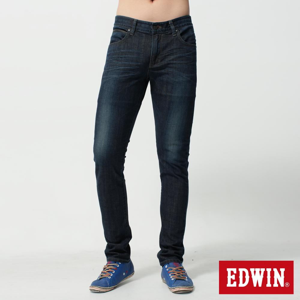 EDWIN 大尺碼窄直筒 EDGE假袋蓋牛仔褲-男-原藍磨
