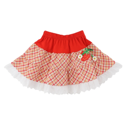 愛的世界 SUPERMINI 純棉鬆緊帶草莓格紋蕾絲短裙/2~4歲