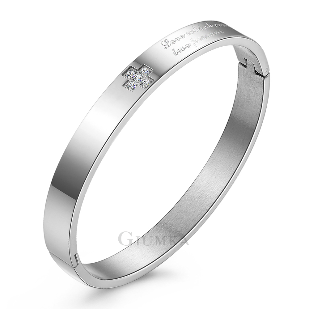 GIUMKA手環忠貞戀人白鋼手環(銀色寬版)