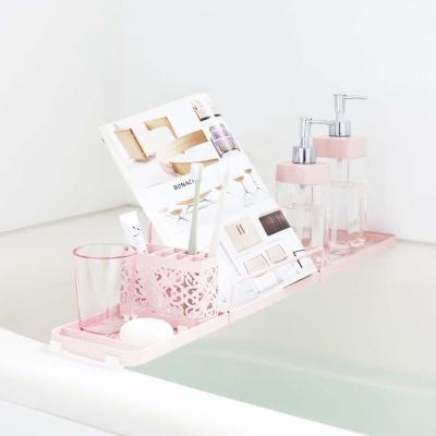 YAMAZAKI Kirie典雅雕花浴缸置物架-粉