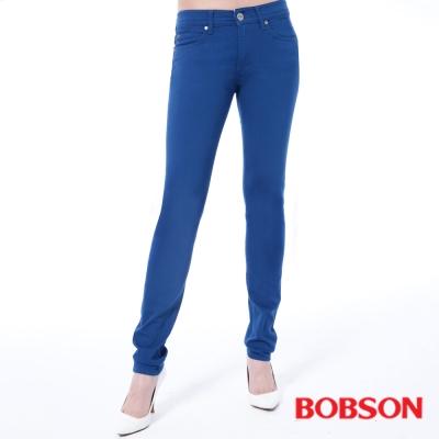 BOBSON 女款低腰膠原蛋白拉毛小直筒褲-寶藍