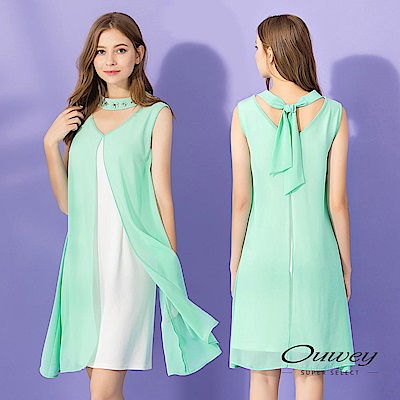 OUWEY歐薇 活片配色好感小禮服洋裝(綠)