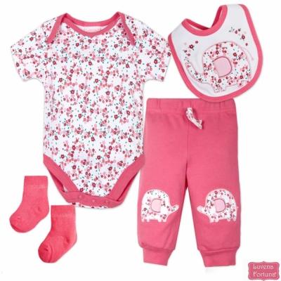LILY & JACK 英國 桃紅碎花大象款4件超值套裝組合