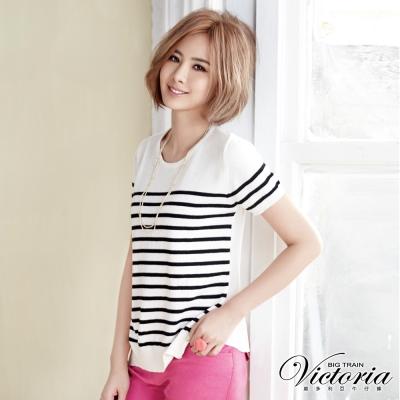 Victoria 條紋拼接雪紡短袖線衫-女-白底黑條