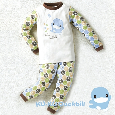 KU.KU酷咕鴨-秋冬有機棉泡泡套裝-藍