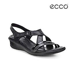 ECCO FELICIA SANDAL 交叉楔形低跟涼鞋-黑