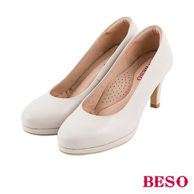 BESO 粉領新貴 都會舒適上班族OL全真皮跟鞋~米