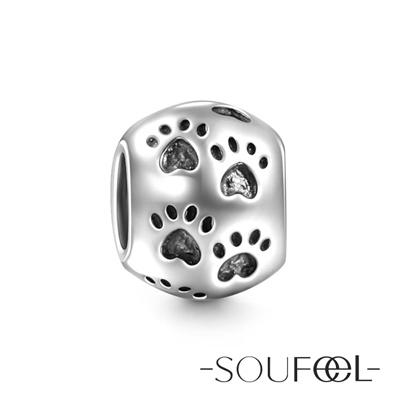 SOUFEEL索菲爾 925純銀珠飾 腳印 串珠