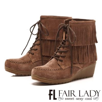 Fair Lady 波西米亞流蘇綁帶楔型靴 灰