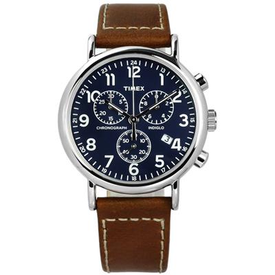 TIMEX 天美時 美國指標型男復古三眼計時日期真皮手錶- 藍x咖啡/40mm