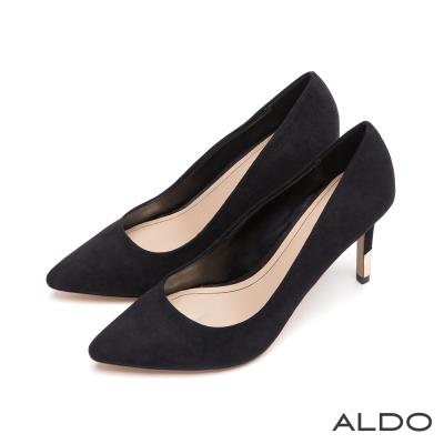 ALDO-都會原色金屬夾心尖頭細高跟鞋-尊爵黑色
