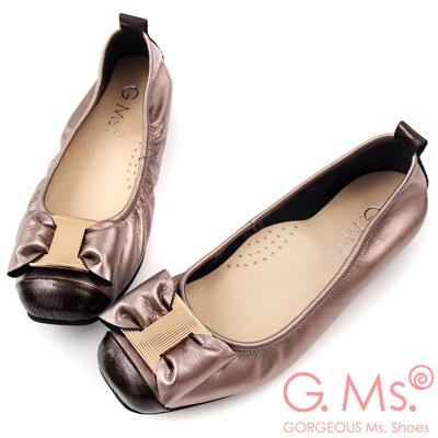 G.Ms. MIT系列-牛皮金飾穿釦蝴蝶結芭蕾舞娃娃鞋-閃亮銀