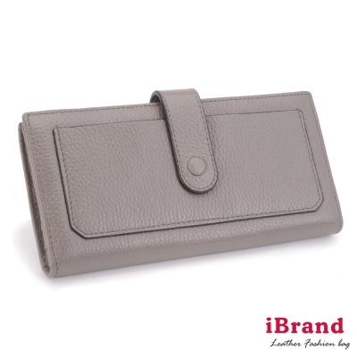 iBrand 韓系簡約口袋對摺真皮長夾-灰