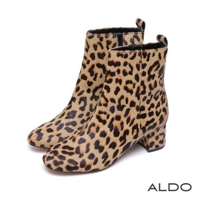 ALDO-長腿美靴真皮壓紋內側拉鍊粗跟靴-狂野豹紋