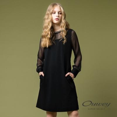 OUWEY歐薇 都會優雅縫飾剪接洋裝(黑)