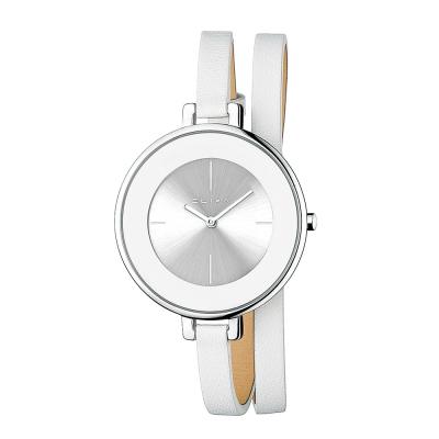 ELIXA Finesse系列銀框 銀白錶盤/白色皮革纏繞式錶帶38mm