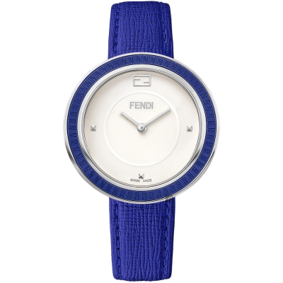 FENDI芬迪 My Way Glamy 經典手錶-白x藍/35mm