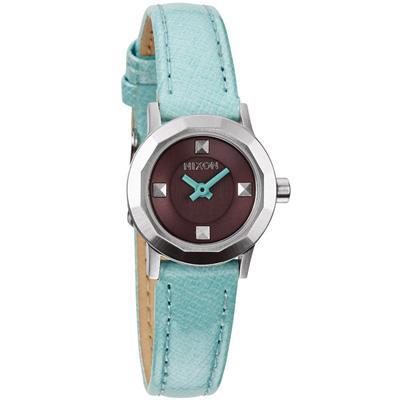 NIXON MINI B多角切割華麗時尚腕錶-深黑灰x水藍色錶帶/22mm