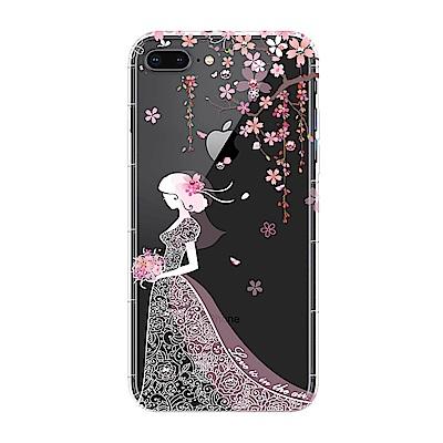 【SSTAR】iPhone 7Plus/8Plus 彩繪水鑽空壓防摔殼-櫻花新娘