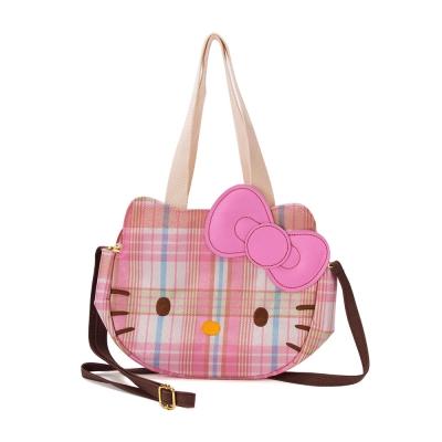 《Sanrio》HELLO KITTY彩色格紋系列大臉造型迷你提袋
