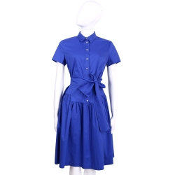 MARELLA 藍色襯衫式綁帶短袖洋裝