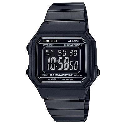 CASIO 復古文青風大型數字數位錶(B-650WB-1)黑色x黑面41.2mm