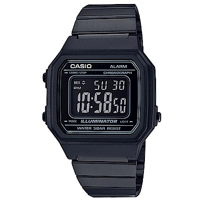 CASIO 復古文青風大型數字數位錶(B-650WB-1A)黑x黑面41.2mm