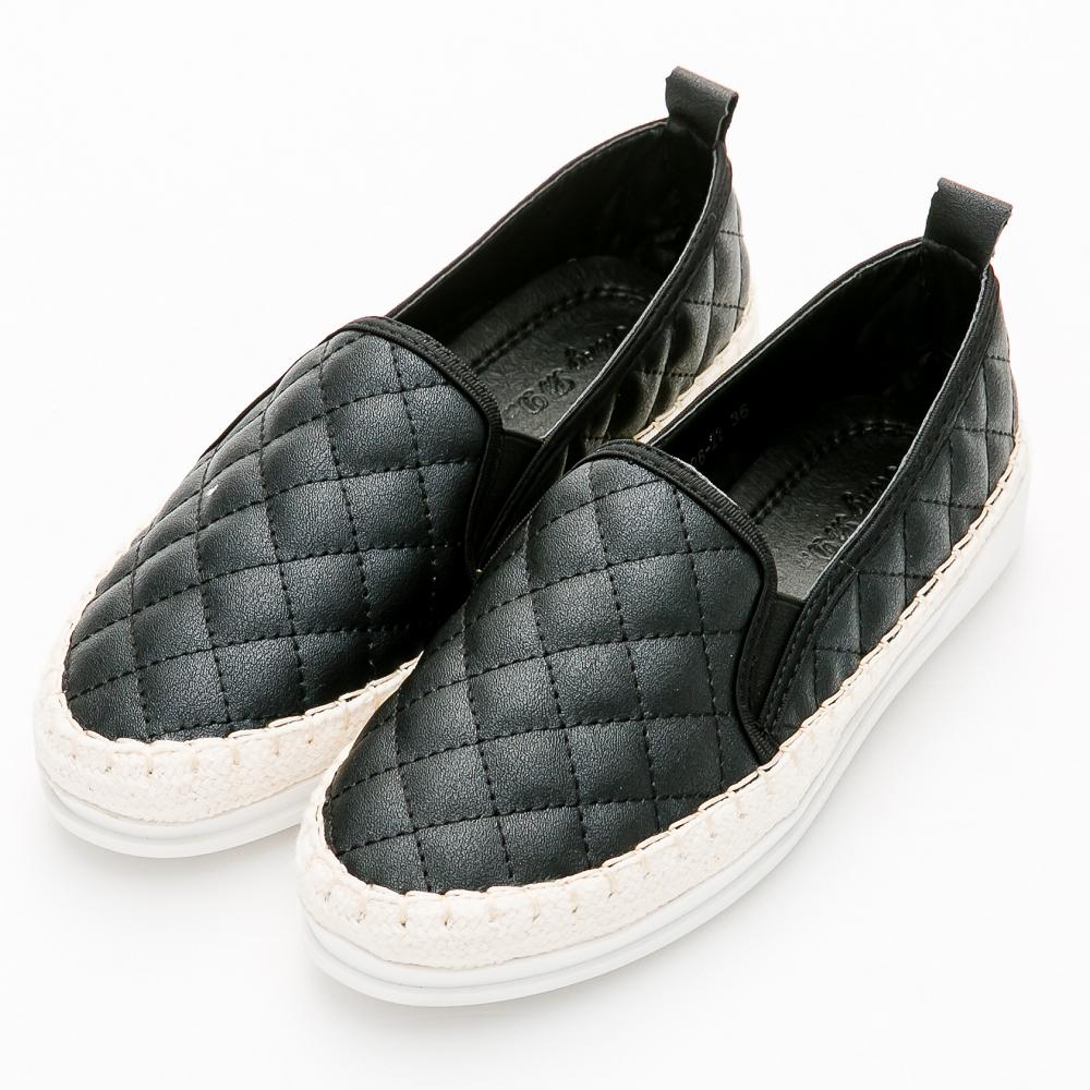 River&Moon大尺碼-小香菱格縫線麻編休閒懶人鞋-黑