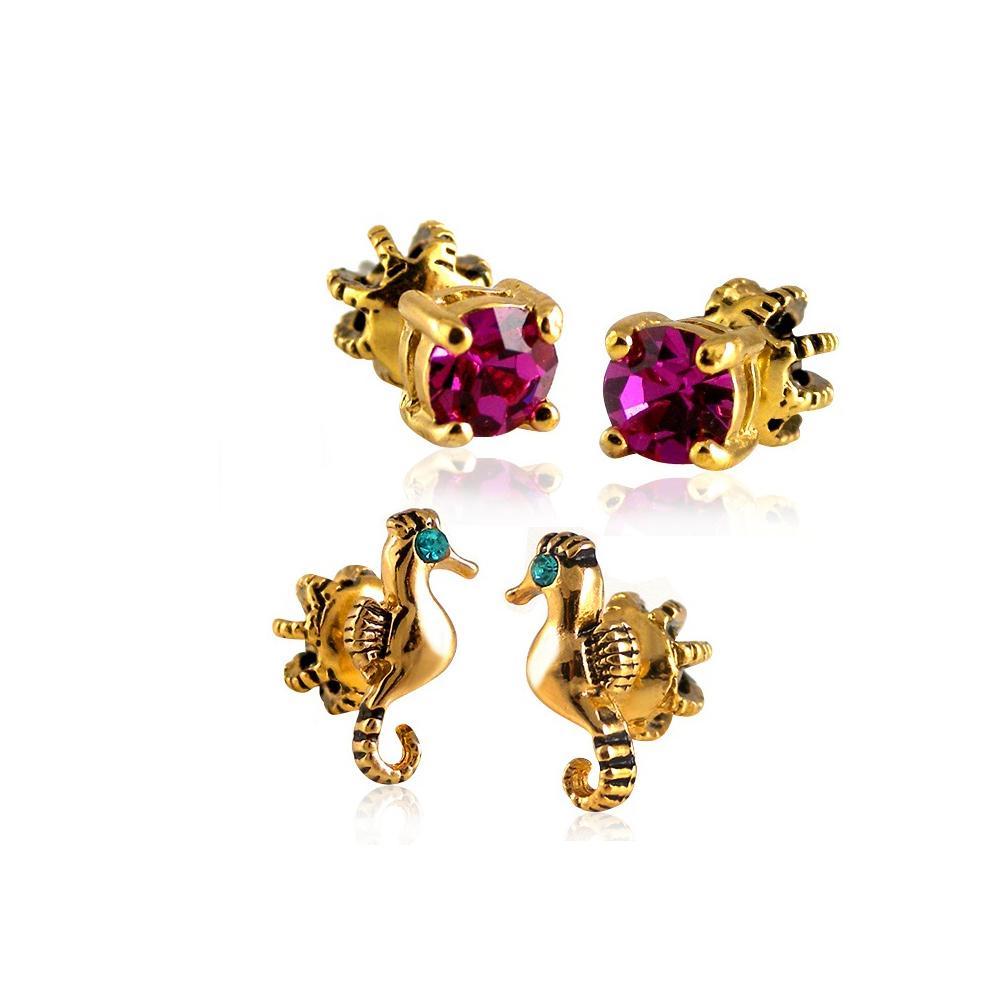 JUICY COUTURE 海馬造型晶鑽雙耳環組合