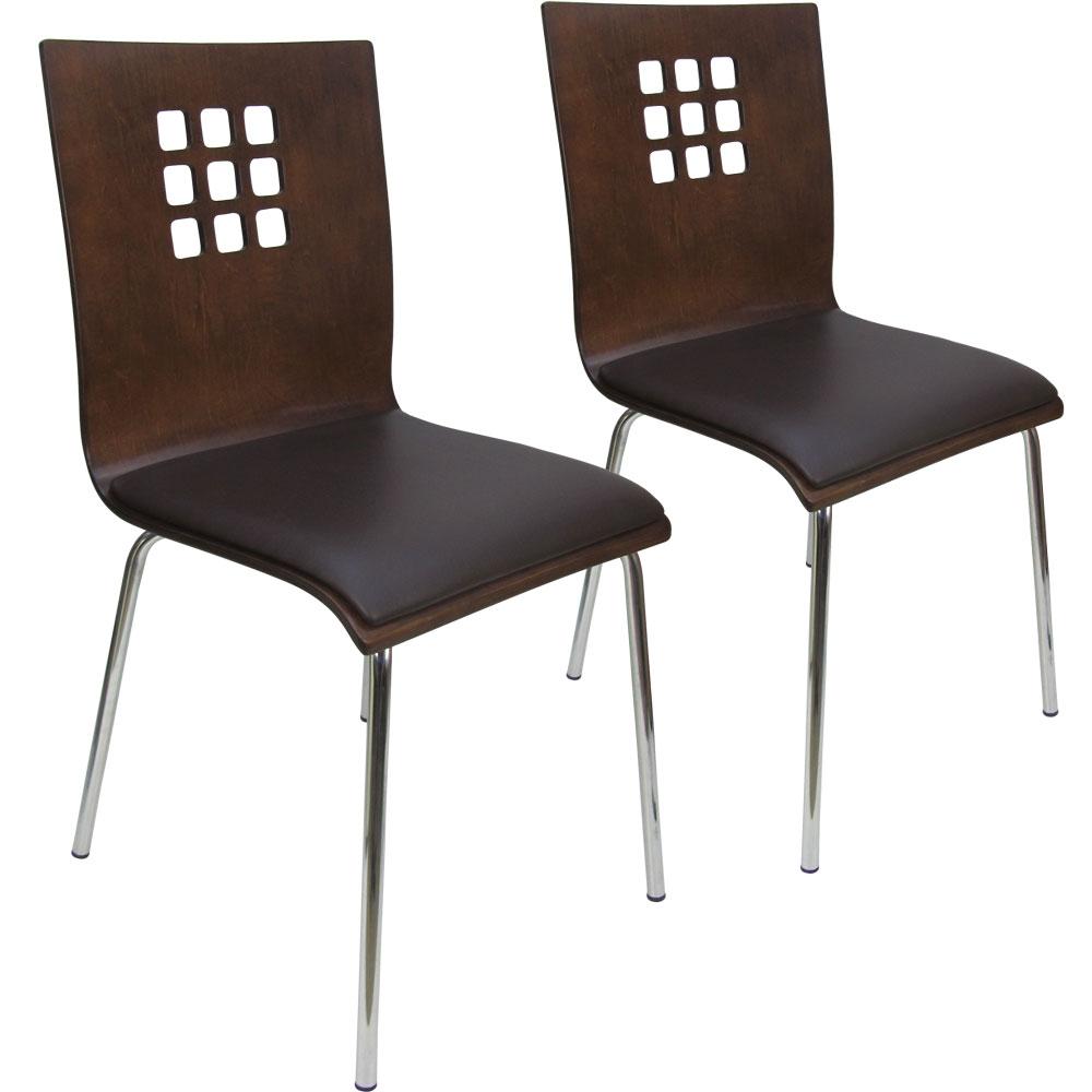 -Design-九宮格曲木皮墊餐椅/洽談椅2入組