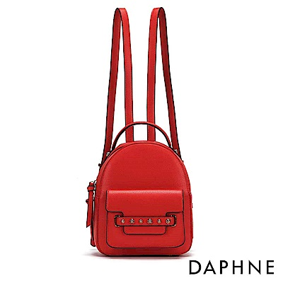 達芙妮DAPHNE-撞色油邊鉚釘雙肩後背包-紅