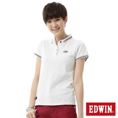 EDWIN POLO衫 簡潔都會POLO衫-女-白色